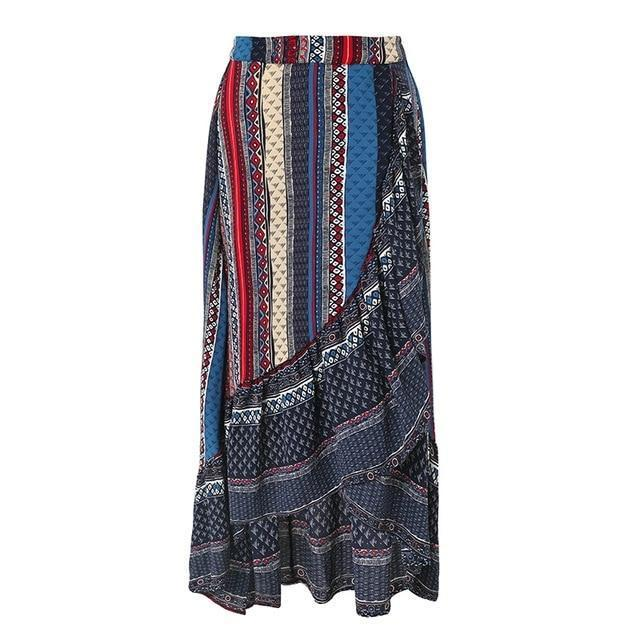 Ruffle boho  wrap skirt