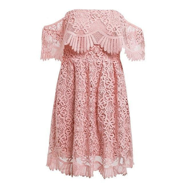 embroidery pink lace dress