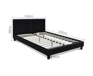 Mondeo Double Size Bed Frame - Black Leather