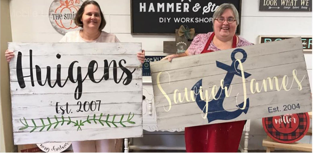 9/15/2018 (2:00pm) Shiplap Name Workshop ($75)