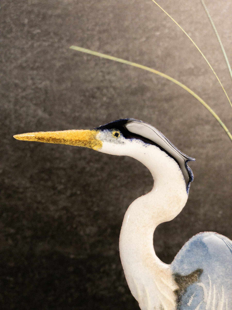 Tabletop Heron In Cattails - Edgecomb Potters