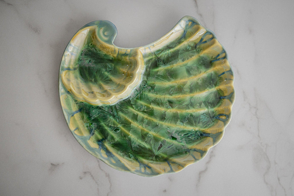 Appetizer Shell-Honey Green-Edgecomb Potters