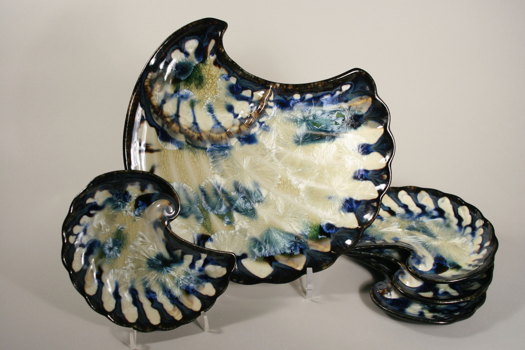 Shell Appetizer Plate-Winter Storm-Edgecomb Potters