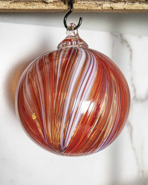 Ribbon Ornament Red & White - Edgecomb Potters
