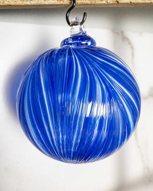 Ribbon Ornament Blue & White - Edgecomb Potters