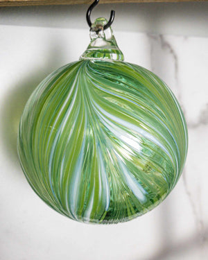 Ribbon Ornament Green & White - Edgecomb Potters