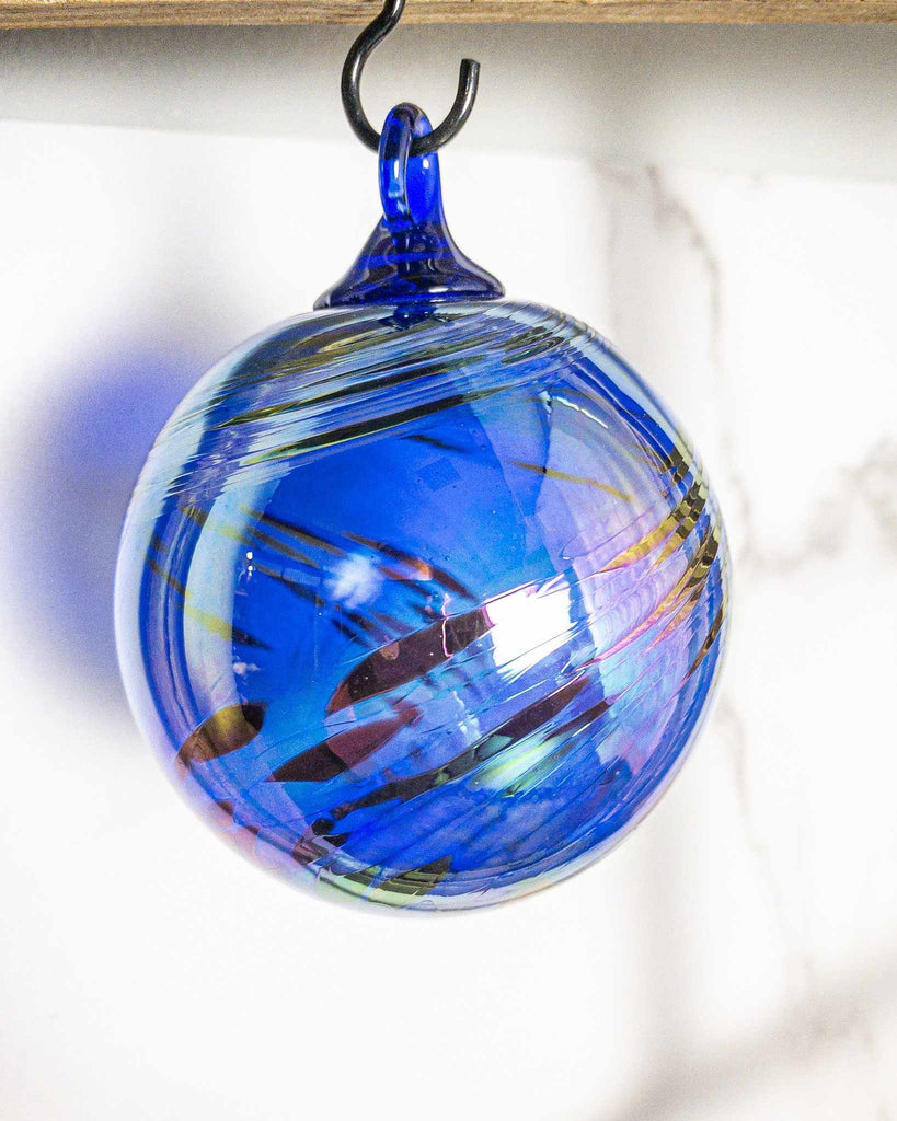 Cobalt Feather Chip Ornament - Edgecomb Potters