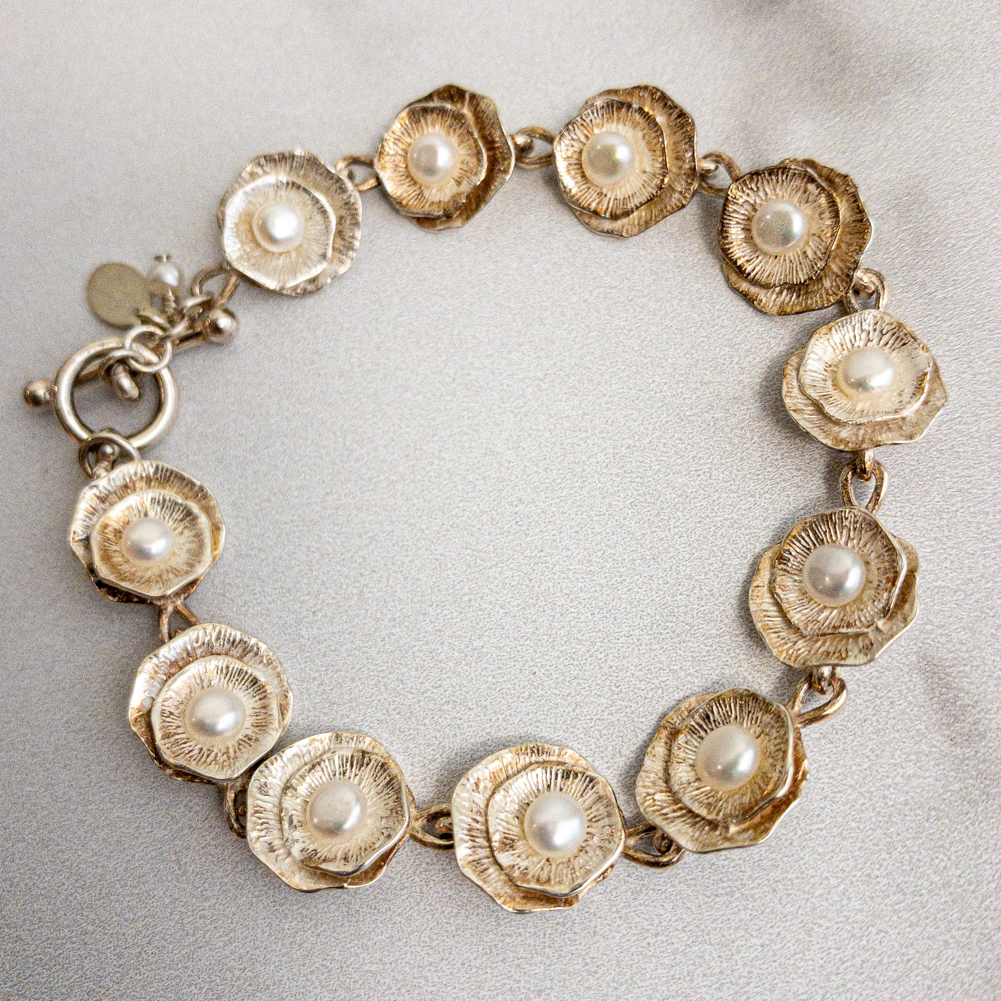 Lily Pad Bracelet with White Freshwater Pearl - Edgecomb Potters
