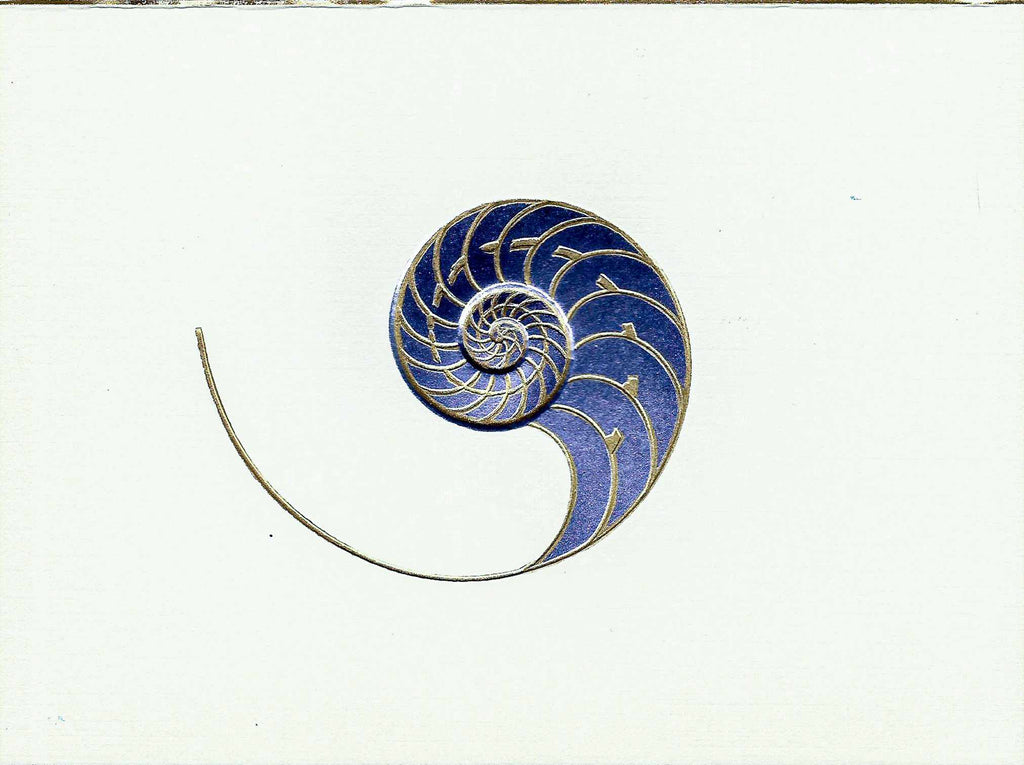 Chambered Nautilus - Gold & Pink on Ecru Embossed Card