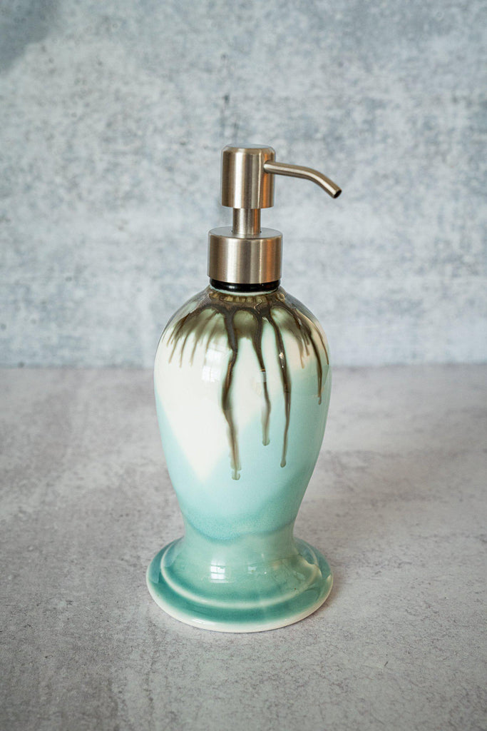 Soap Dispenser, ~12 oz-Seaglass-Edgecomb Potters (4127876710540)