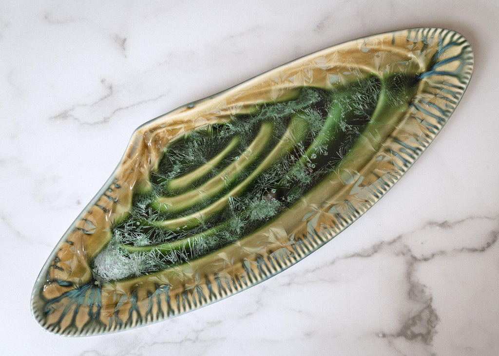 Mussel Shell Platter-Honey Green-Edgecomb Potters (4047345221704)
