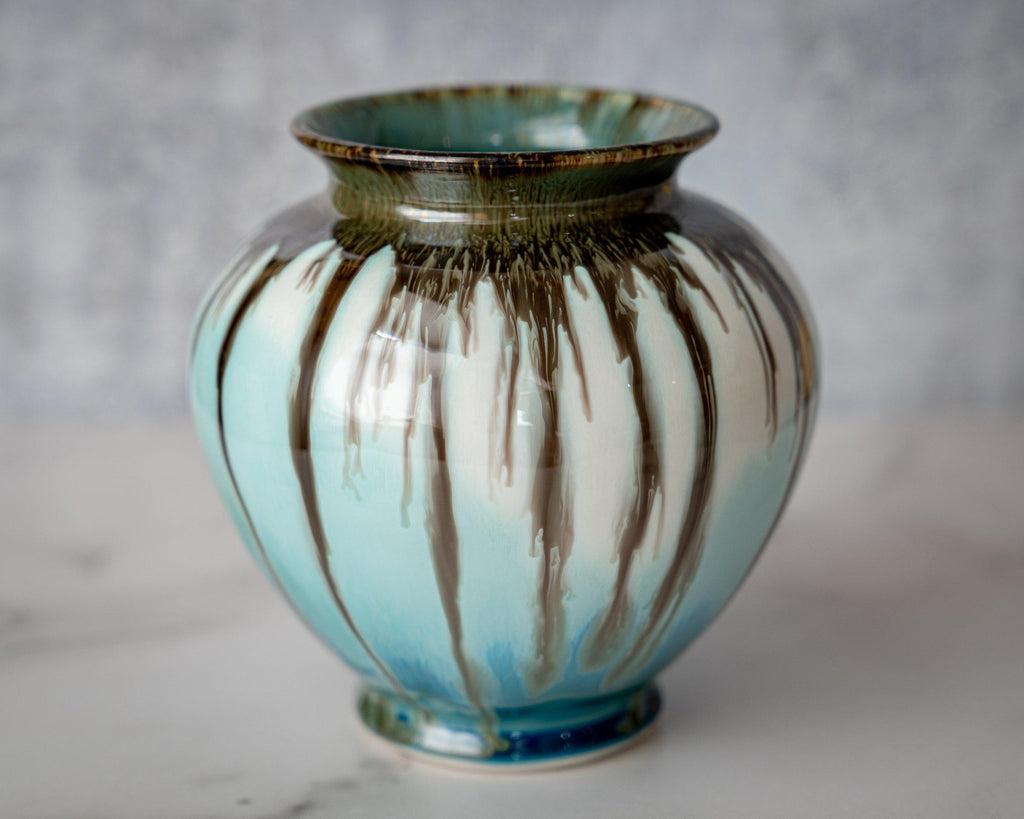 Ginger Jar Vase-Seaglass-Edgecomb Potters