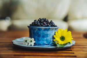 Appetizer Set - Bowl - Plate - blueberries - flowers - Serveware - Small Server - Pottery - Edgecomb Potters