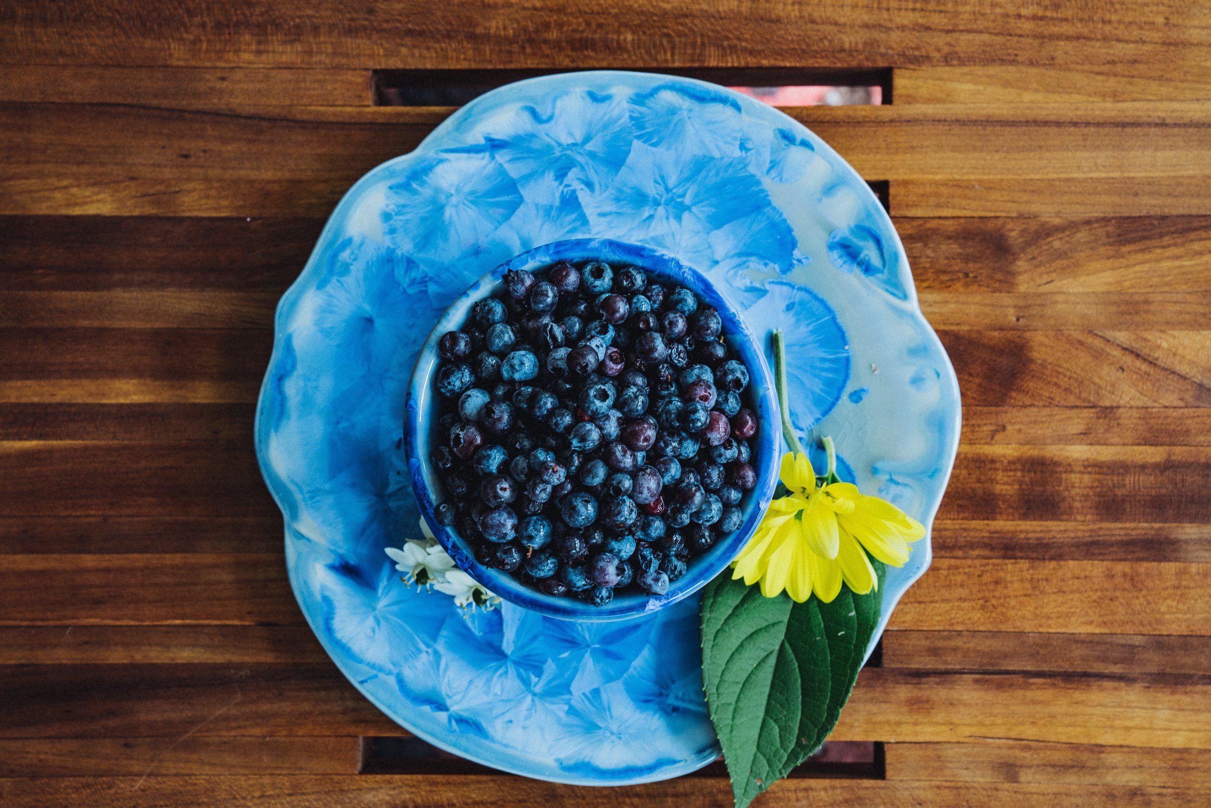 Appetizer Set - Bowl - Plate - overhead  - blueberries - flowers - Serveware - Small Server - Pottery - Edgecomb Potters