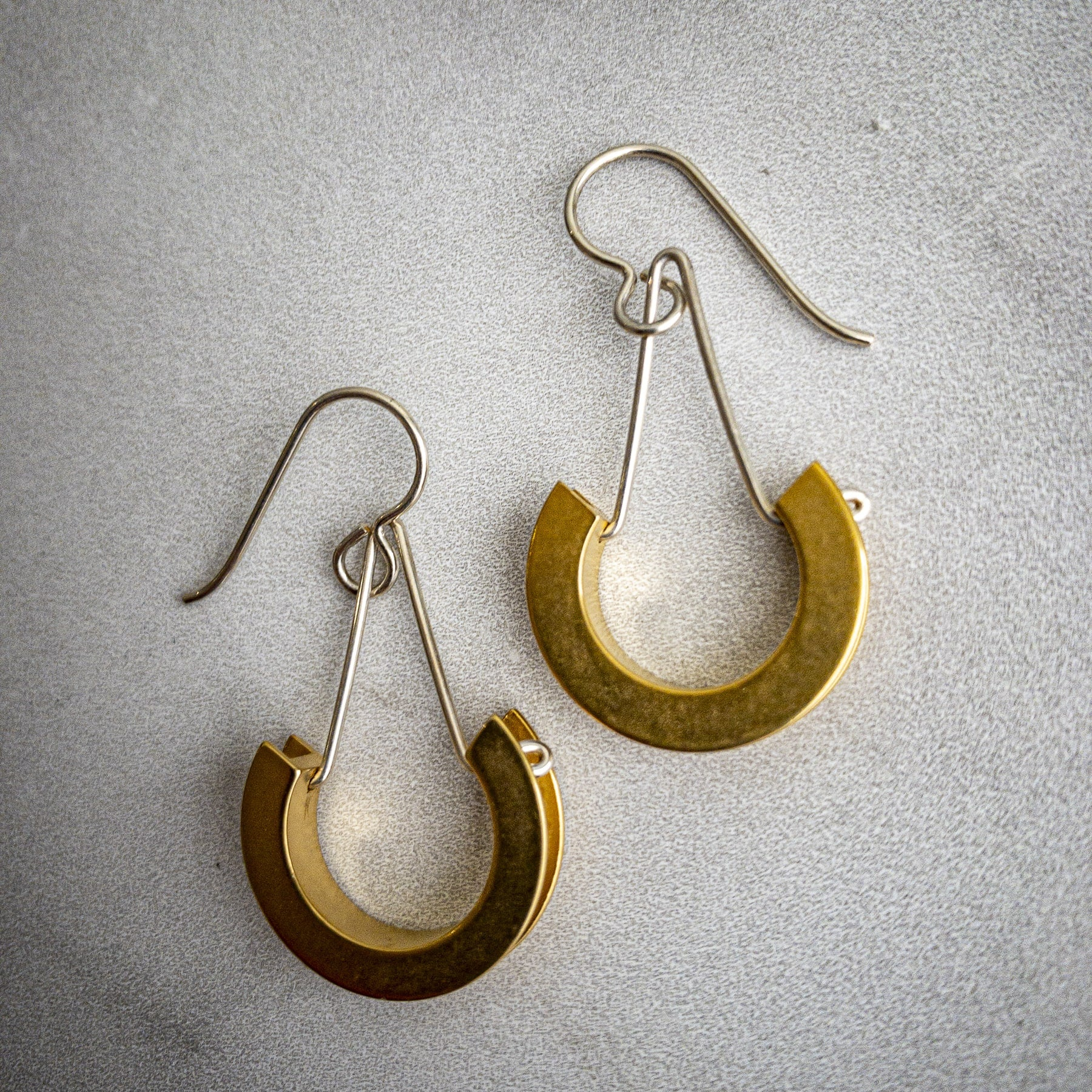 Sterling Silver and Gold Plate Arc Earrings