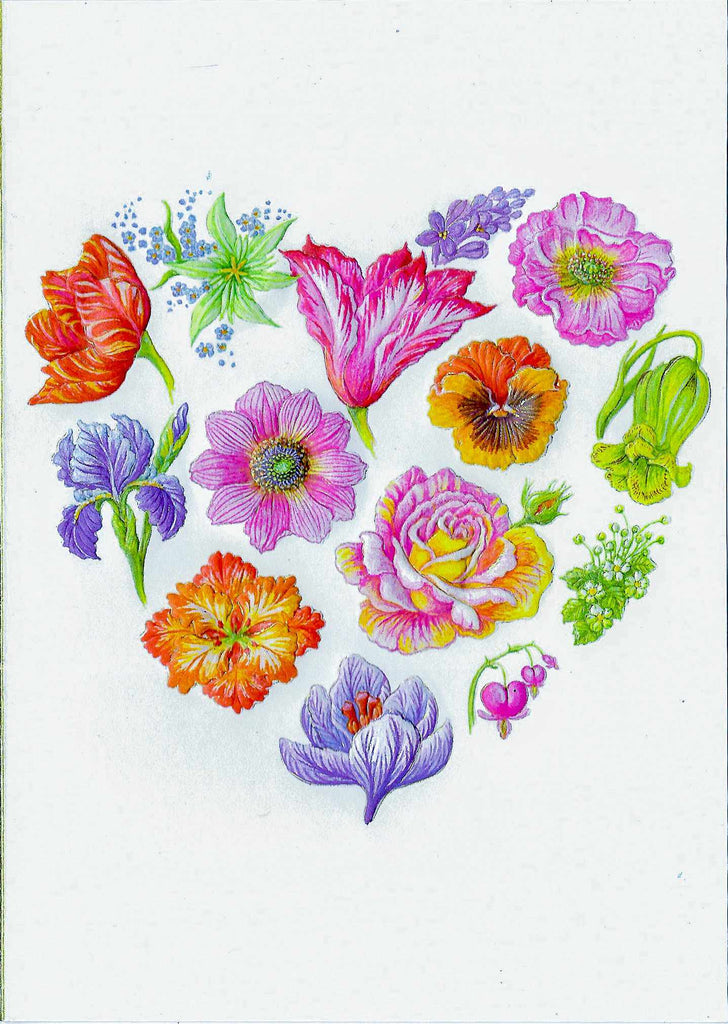 Floral Pattern Heart - Litho on Ecru Card