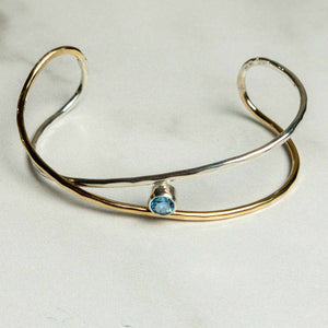 Freeform Slender Bracelet with Blue Topaz - Edgecomb Potters