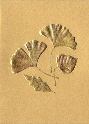 Leaf Medley - Gold Foil on Gold Card - Edgecomb Potters