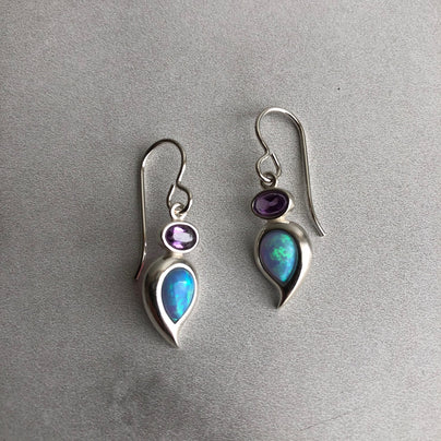 Blue Opal Paisley and Amethyst Oval Earrings in SS