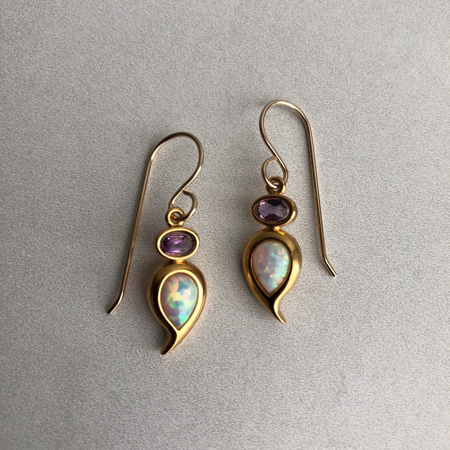 White Opal Paisley and Amethyst Oval Earrings in Vermeil