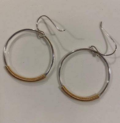 Dangling Wrapped Hoops - Edgecomb Potters