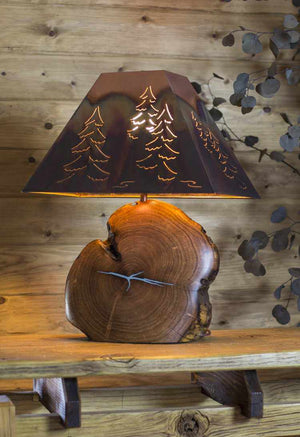 Washed Green Mesquite Lamp with Copper Tree Shade - Edgecomb Potters