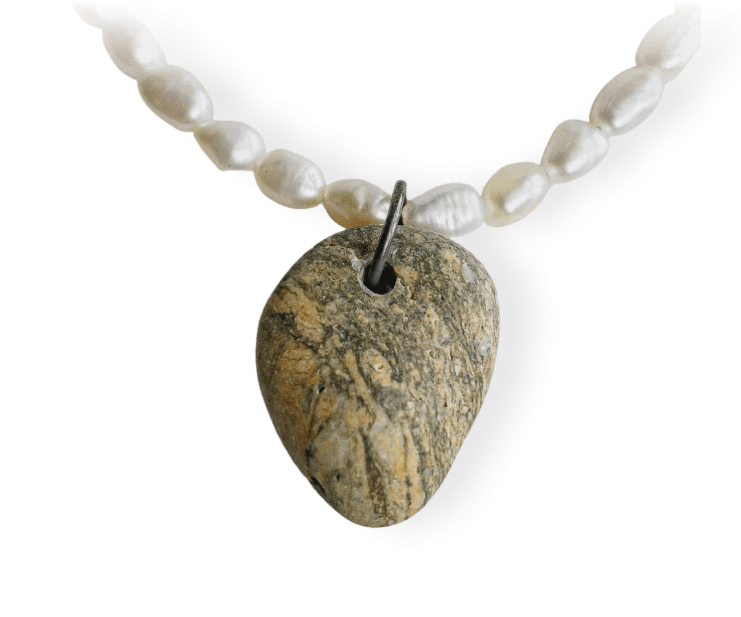 Pearl/Beach Stone Necklace 442