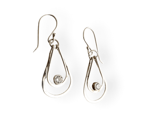 Double Teardrop White Cubic Zirconia and Sterling Silver Earrings