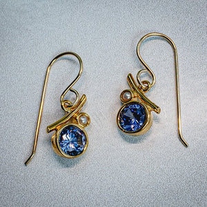 Abstract Tanzanite CZ Earrings - Edgecomb Potters