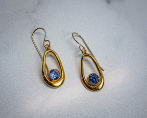 Oval Tanzanite CZ Earrings - Edgecomb Potters
