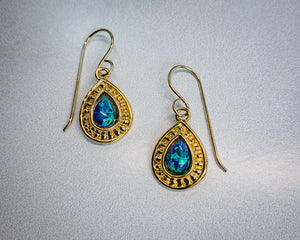 Created Black Opal Earrings in 14K Gold Vermeil - Edgecomb Potters
