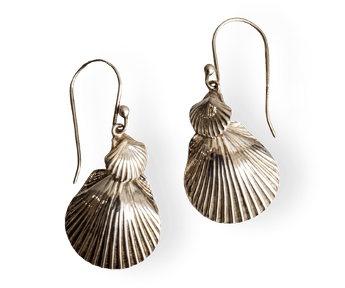 Large and Small Sterling Silver Scallop Earrings