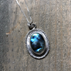 Oval Labradorite Frame Necklace - Edgecomb Potters