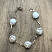 Squiggle Coin Pearl Bracelet - Edgecomb Potters