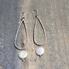 Large Teardrop Earrings With Pearl - Edgecomb Potters
