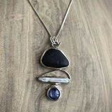 Beachstone/Prl/Kyanite Necklace - Edgecomb Potters