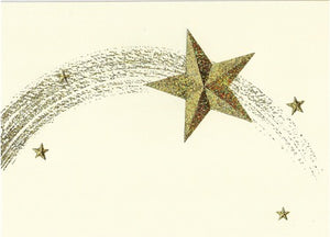 Shooting Star - Gold Glitter Foil on Cream Card - Edgecomb Potters