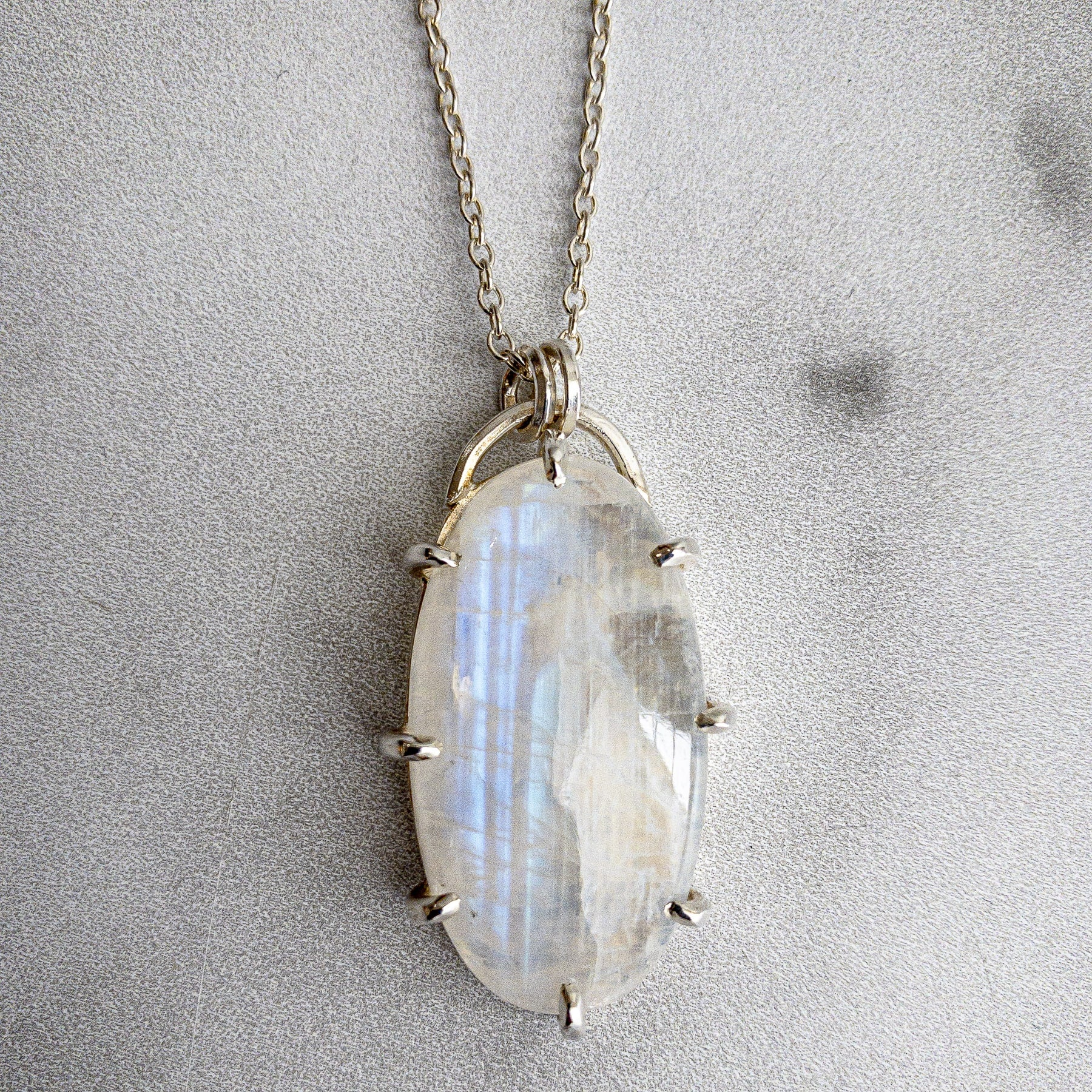 Rainbow Moonstone Pendant/Necklace in Oxidized Sterling