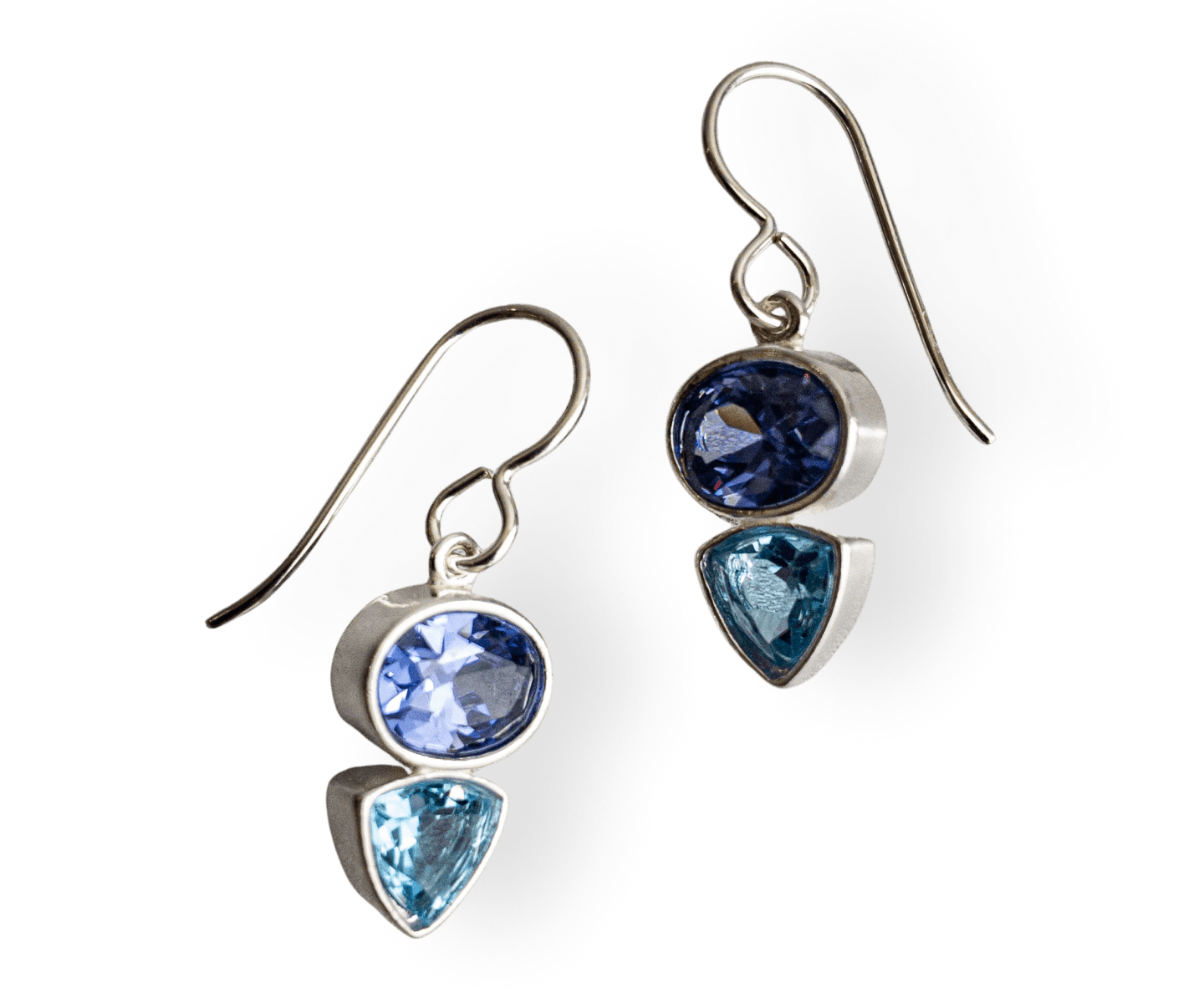 Tanzanite CZ and Blue Topaz Deco Style Earrings