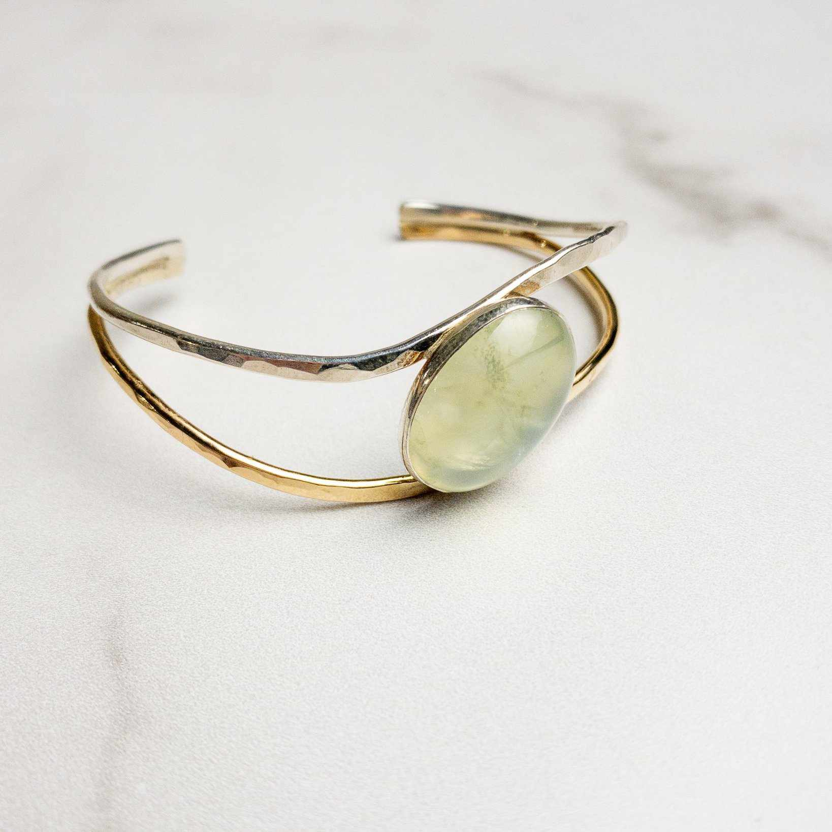 Twisted Sterling Silver and Gold Filled Cuff with Large Oval Opal - Edgecomb Potters