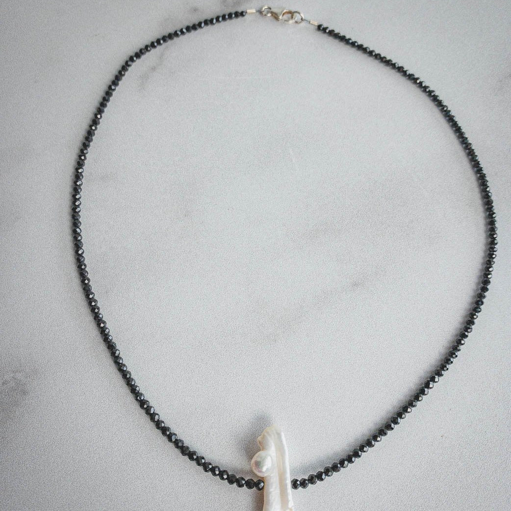 Black Spinel and Pearl Necklace - Edgecomb Potters