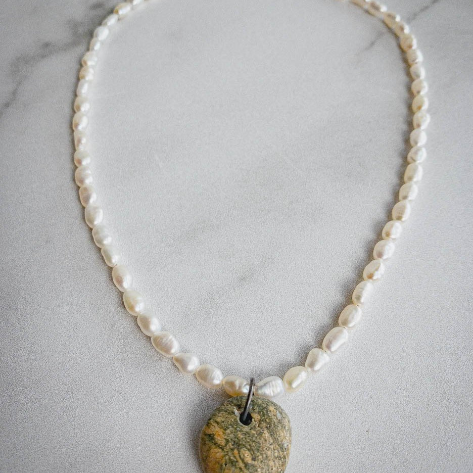 Pearl/Beach Stone Necklace 442 - Edgecomb Potters