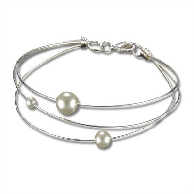 Sterling Silver Wire Bracelet with Glass Pearls - Edgecomb Potters