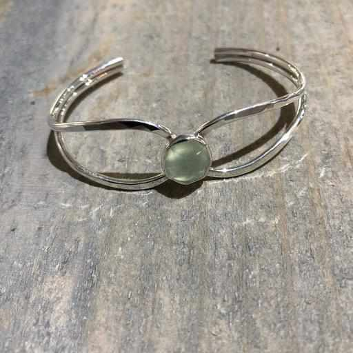 Prehnite and Sterling Silver Bracelet - Edgecomb Potters