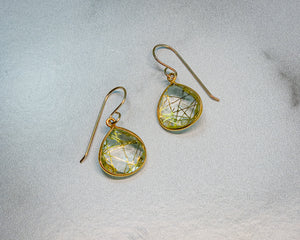 Pear Gold Rutile Earrings - Edgecomb Potters