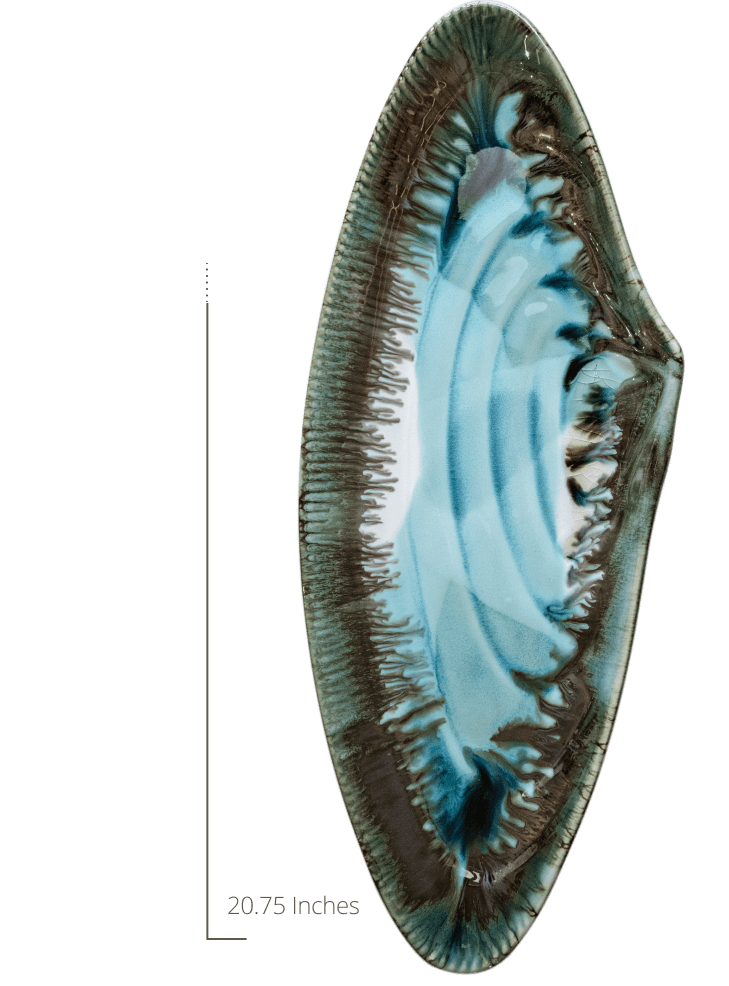 mussel shell platter measurement 20.75 inches tall