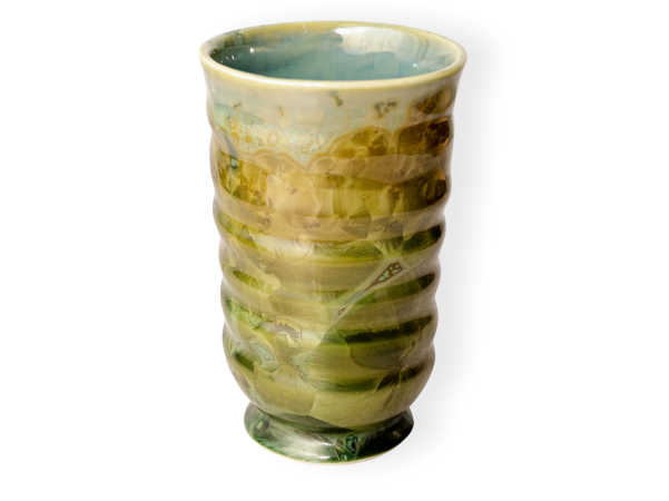 Tumbler pottery mug in honey green