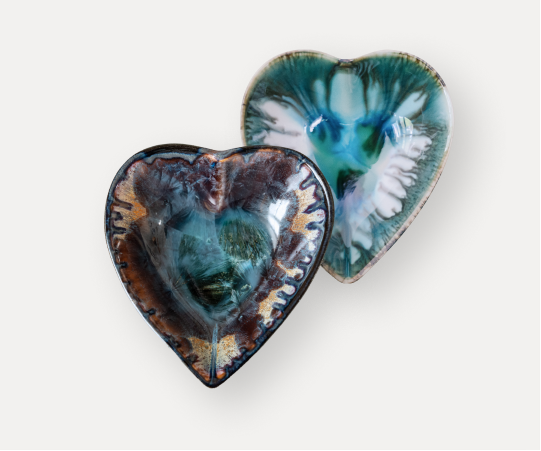 pottery heart dishes great accessories in bright color glazes