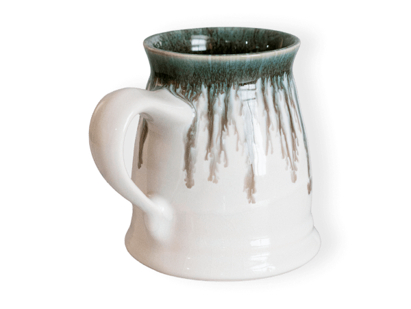 Stein pottery mug in seabreeze glaze