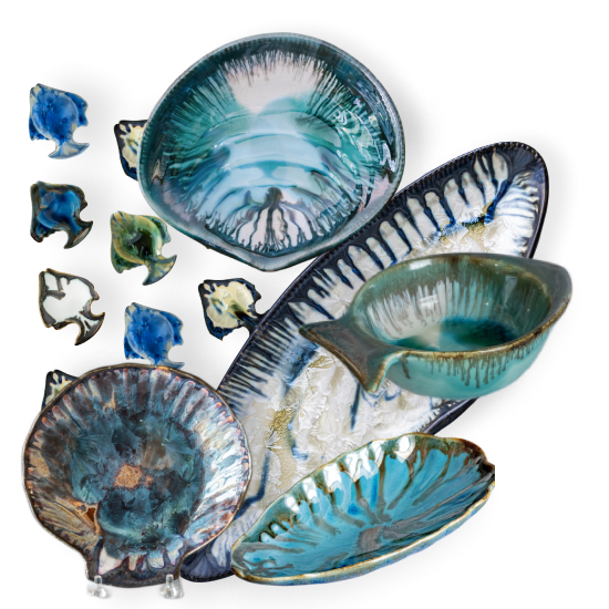 Image of Ocean and shore inspired pottery
